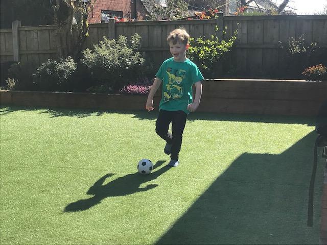 Zachary has been enjoying the sunshine.