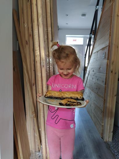 Sophie made blackberry pie. Yum!
