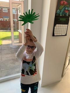 Louie's super handprint Palm Leaves.