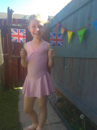 Ballerina Evie is ready for VE Day.