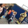 The Fireman showed us his uniform