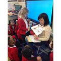She read some of the children's stories.