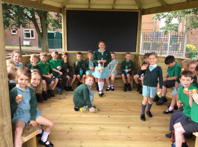 Milk and fruit in our new outdoor classroom