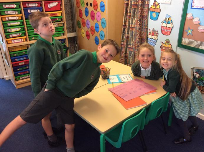 Fun during our group problem solving in Maths