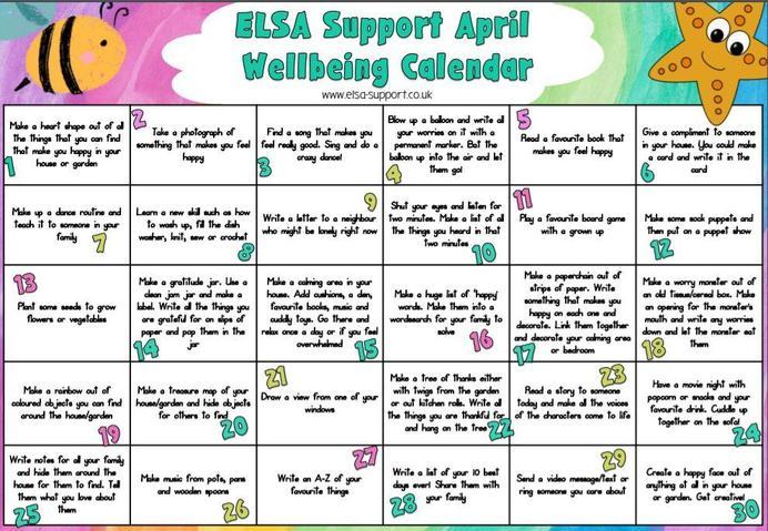 April wellbeing calendar