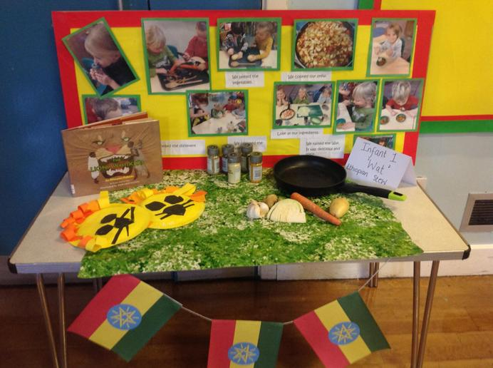 Infant 1 display 'cooking and story telling'