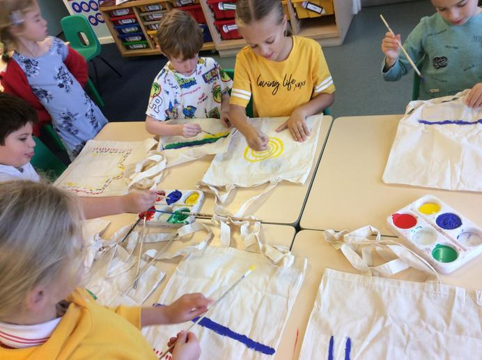Painting our cotton bags in Year 2 and 3
