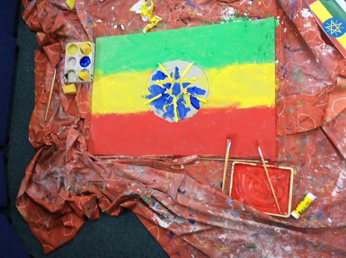 The Ethiopian Flag painted by Year 1