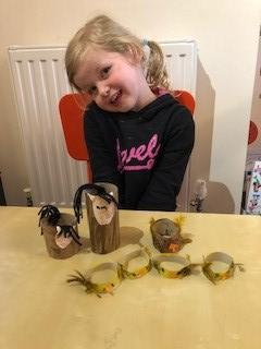 Isobel made a horse, goat, chickens and chicks.