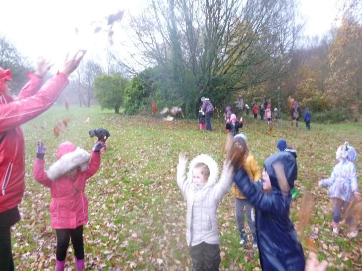 Leaf throwing was lots of fun!