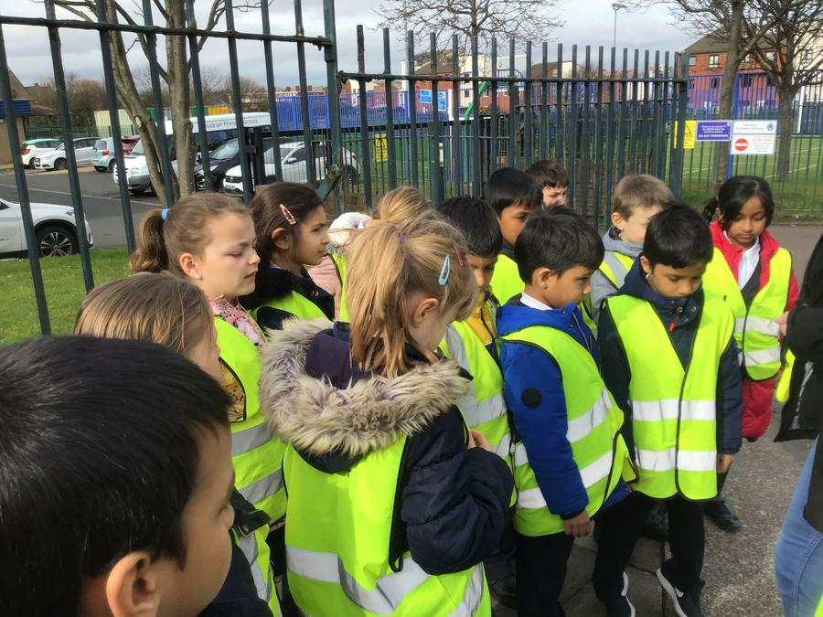 We have been learning how to cross the road safely