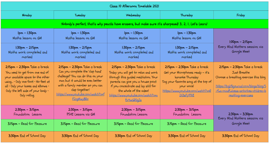 Afternoon Timetable