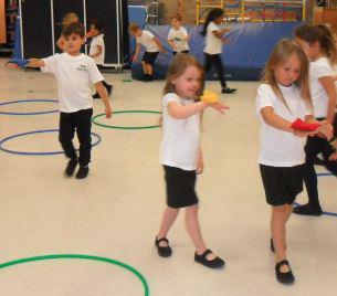 Balancing skills in PE.