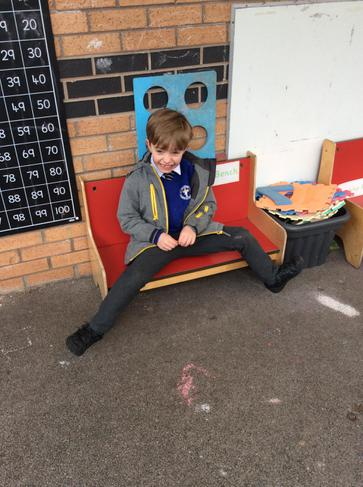 Chilling out on the friendship bench.