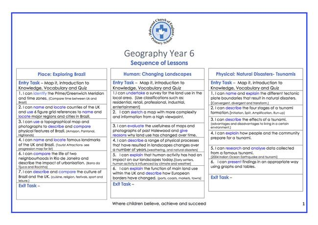 Geography Sequence of Lessons Example