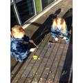 Splatter painting fireworks