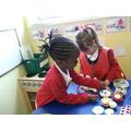 Baking in the playdough area