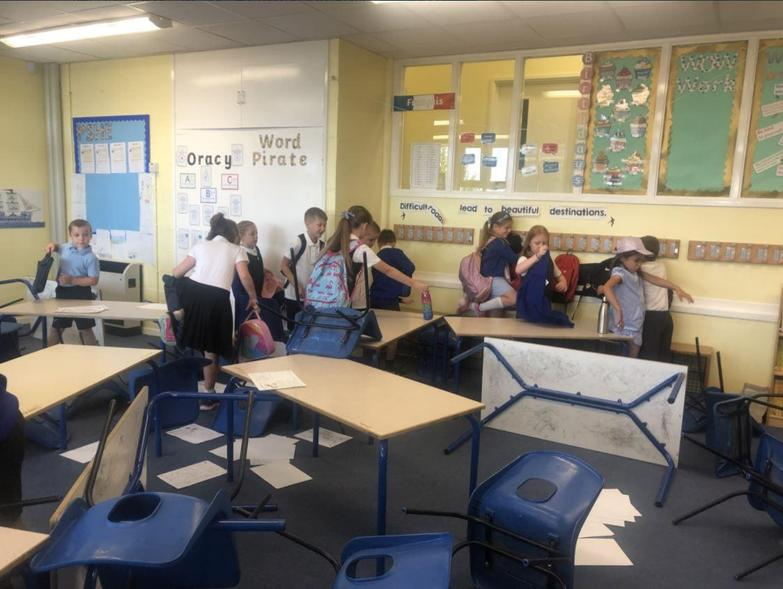 An earthquake hit the classroom! Thankfully Year 3 learnt how to stay safe