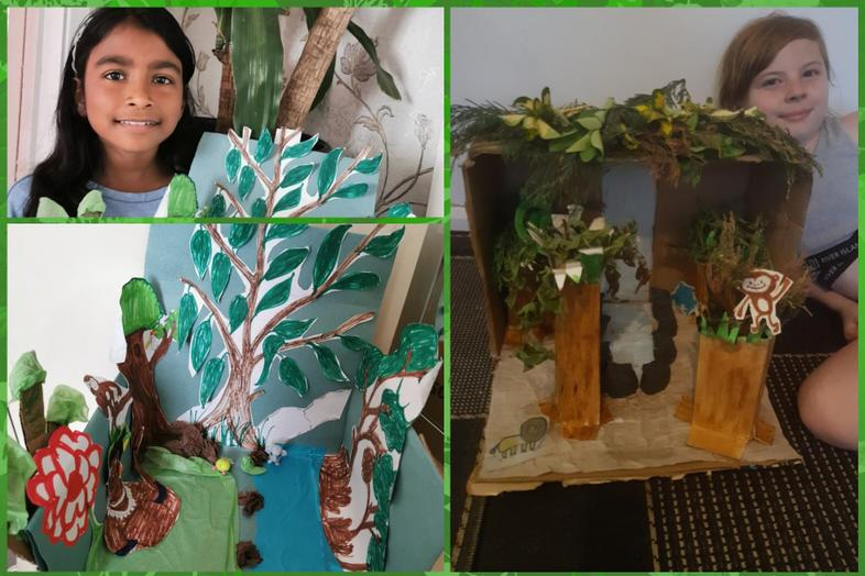 Some great rainforest art from Sabs and Chloe