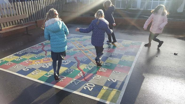 The super snakes and ladders board in KS2.