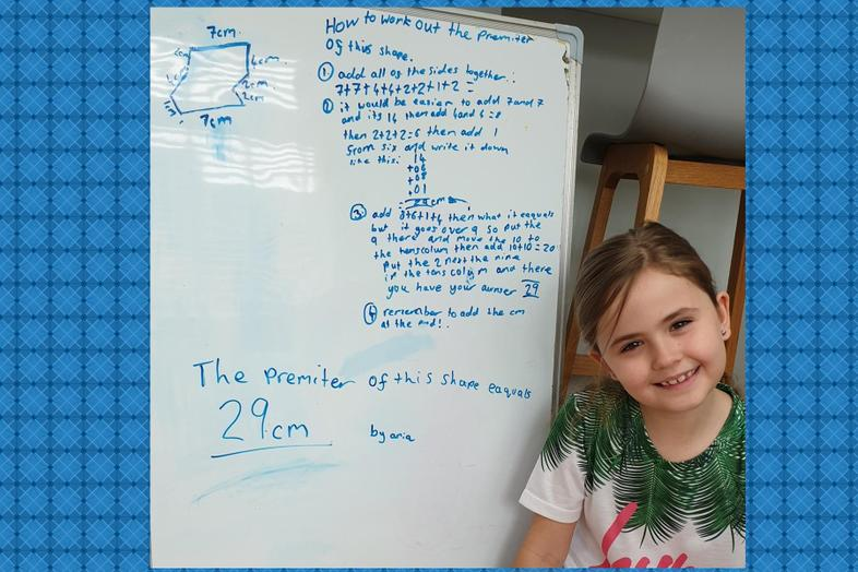 Aria shows how to work out a perimeter of a shape.