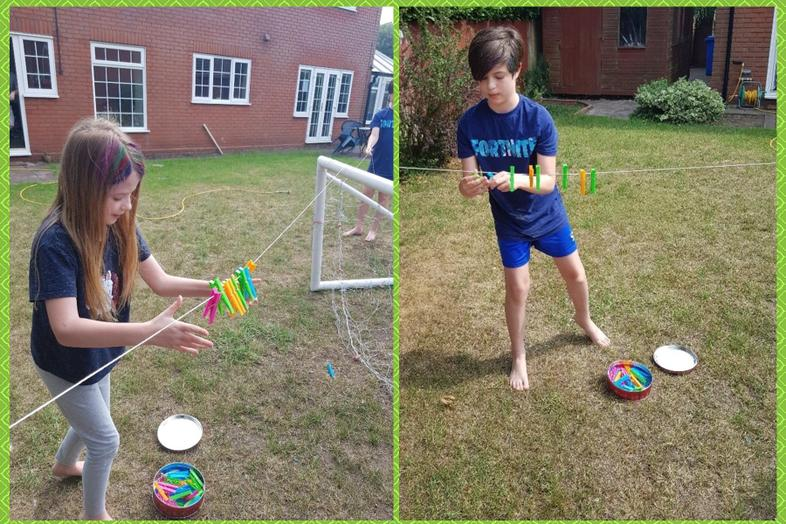 The Palmers compete on the pegs challenge.