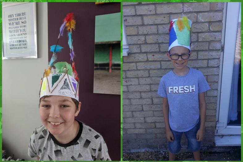 Rufus' and Brogan's head dresses
