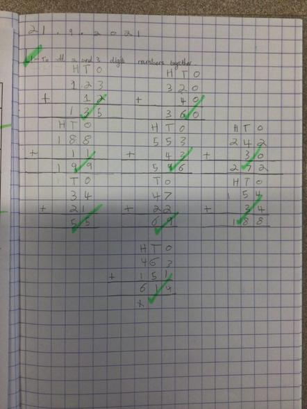 We've been learning how to add 2 and 3 digit numbers using column method.