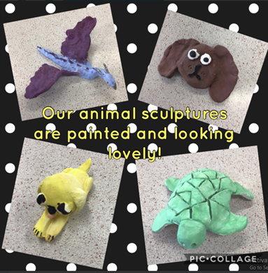 We've painted our clay animal sculptures and we think they look great!