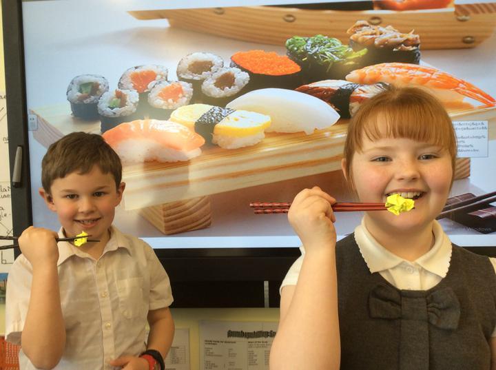 We practised using chopsticks