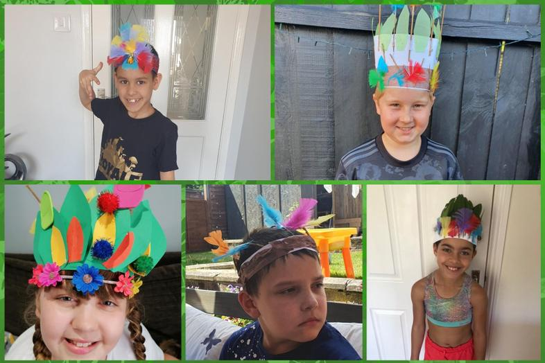 Head dresses by Cruz, Josh, Emily, William, Sienna
