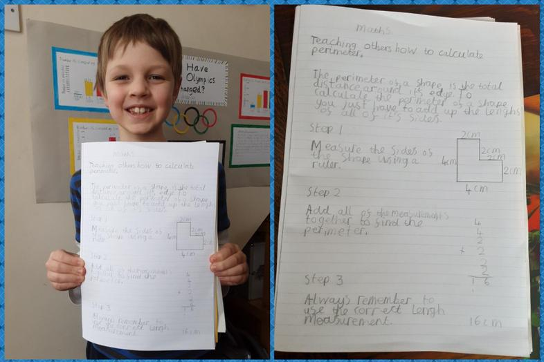 Harrison explains working out perimeters of shapes