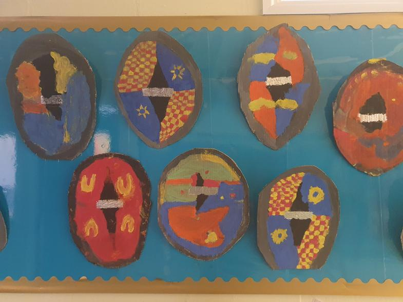 Some beautiful Roman shields that Year 3 made in Art.