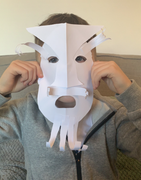 Ethan's mask, inspired by Greek theatre. Love the beard!