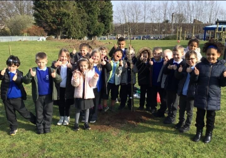 Helping to plant a tree for our new forest schools area