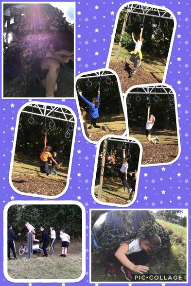Y6 getting the chance to try out Stoke High School's new obstacle course! Look at them go!