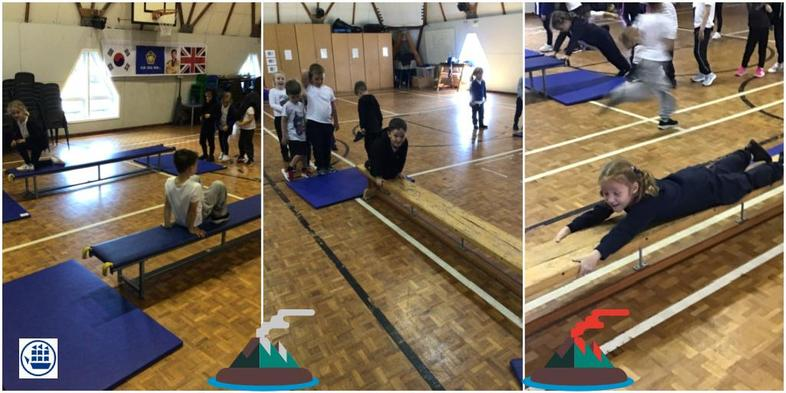 We've been learning how to travel across benches and include the balances we learnt!