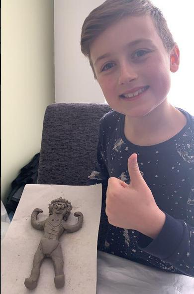 Ethan's salt dough Greek statue.