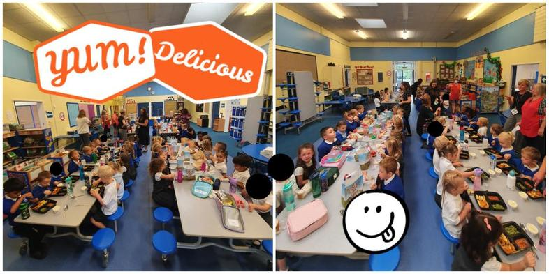 Reception enjoying their first lunch with us! Yum!