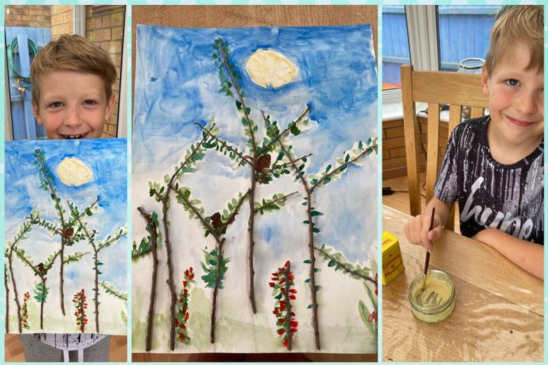 Alfie's great effort with natural mustard paint