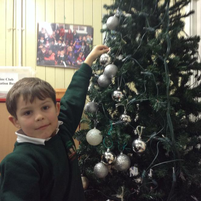 We are decorating our Christmas tree!!