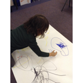 Mark making with the large marker pens.