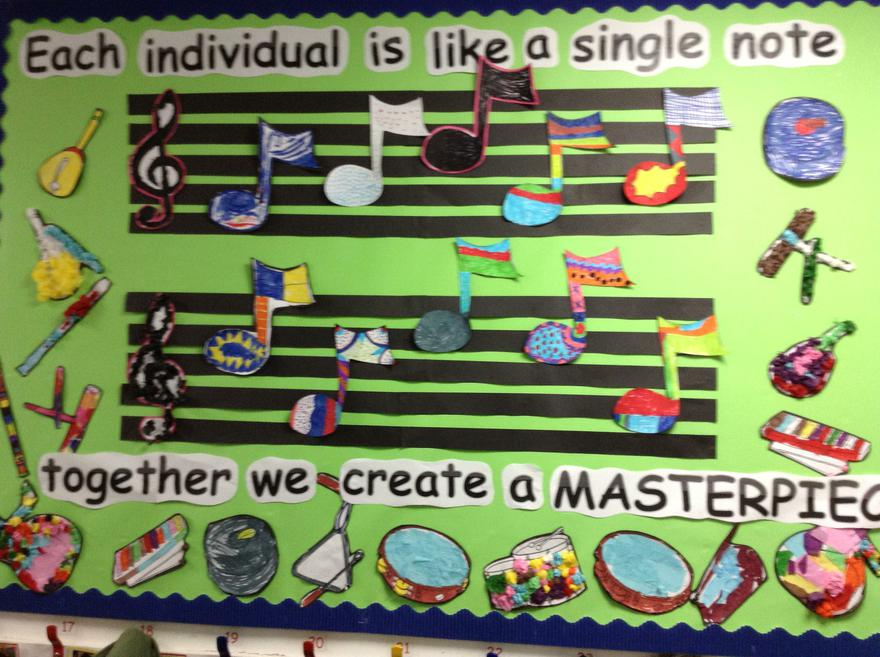 A colourful music Display.