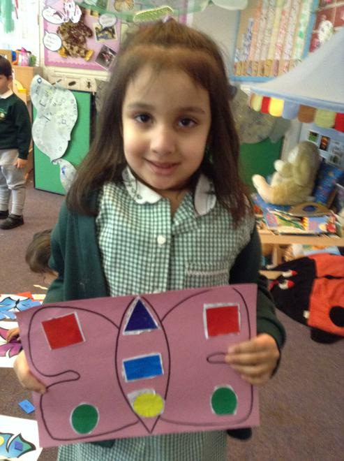 A colouring butterfly, can you name the shapes?