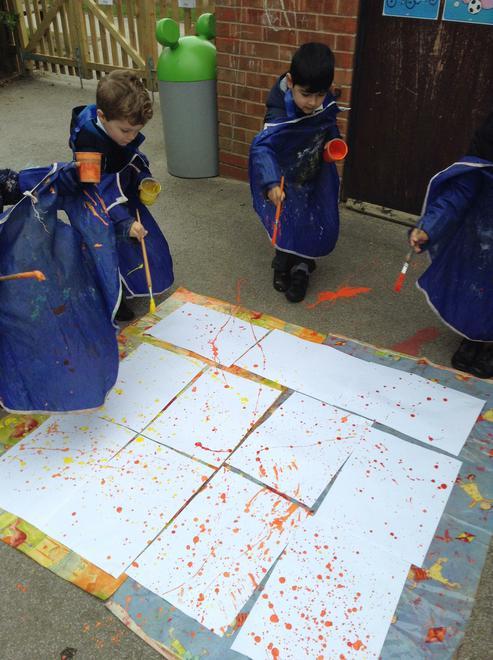 Nursery children were inspired by Jackson Pollock.