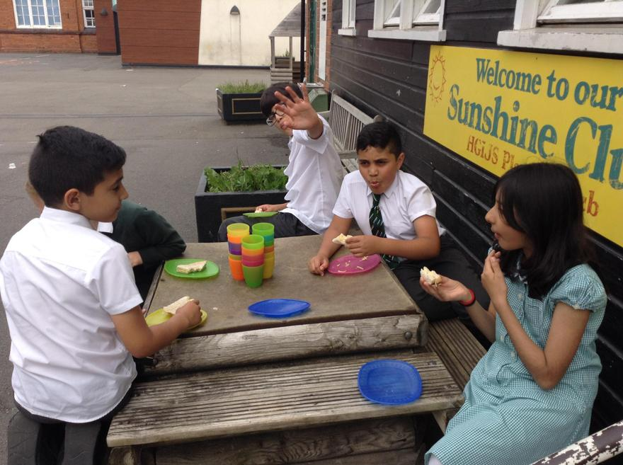 Enjoying our food in the sunshine.