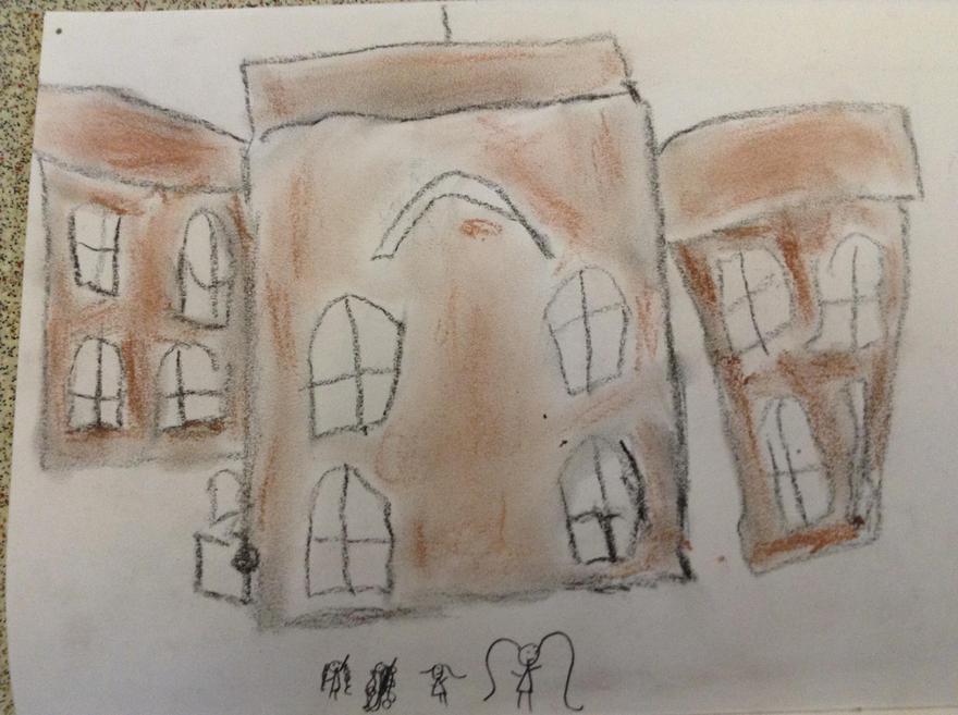 Chalk pastel drawing of buildings