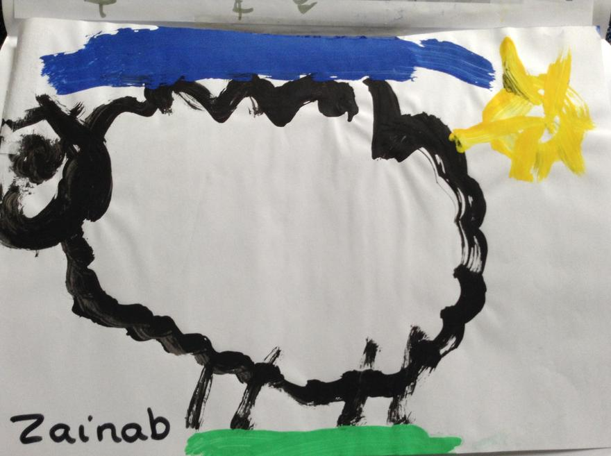 A lovely painting of a sheep