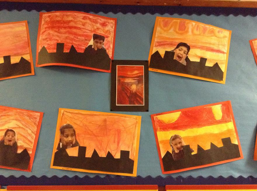 Yr 2 Great Fire of London inspired by Edvard Munch