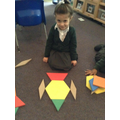 Making 2D shape large scale rockets on the carpet.